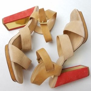DOLCE VITA Tan & Orange Suede Thick High Heels